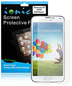 Ionic Screen Protector Film Self Repair for New Samsung Galaxy S5 SV (AT&T, T-Mobile, Sprint, Verizon) (3-pack)[Lifetime Replacement Warranty]