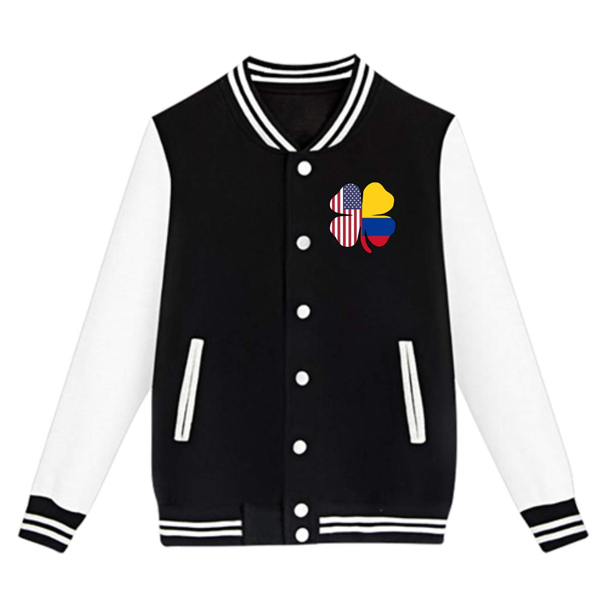 NJKM5MJ Unisex Youth Baseball Uniform Jacket American Colombia Flag Shamrock Sweater Sport Coat