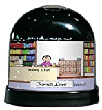 Personalized Friendly Folks Cartoon Caricature Snow Globe Gift: Librarian - Female Great for school, city library worker