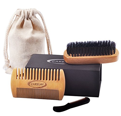 22 off carelax natural boar bristle beard brush and comb set for men wide and fine teeth. Black Bedroom Furniture Sets. Home Design Ideas