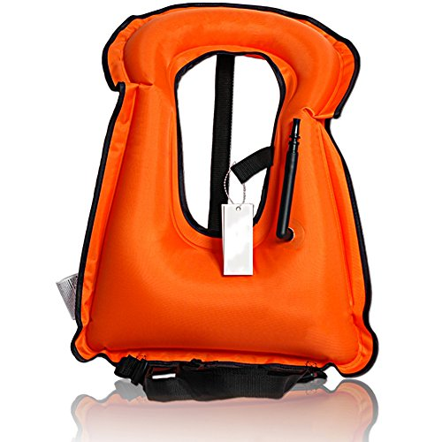 Isafish Portable Inflatable Life vest Safety Kayak Diving Life Jacket Bright Coloured Buoyancy Vest Snorkel Vest for Kids Adult Orange