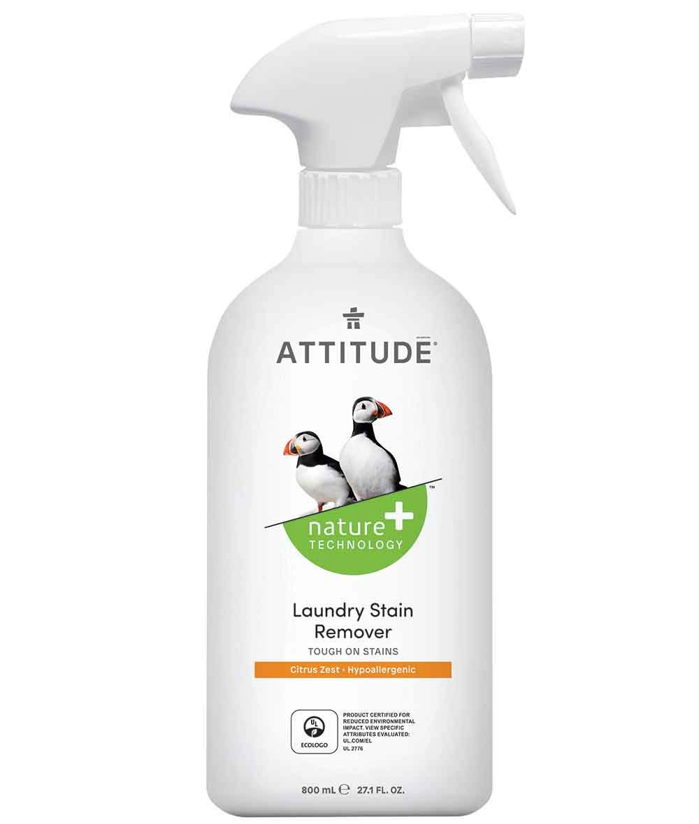 ATTITUDE Nature +, Hypoallergenic Laundry Stain Remover, Citrus Zest,27.1 Fluid Ounce
