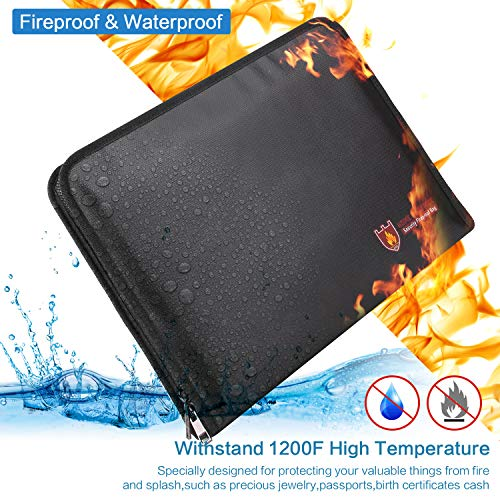 Fireproof File Folder Vdealen Fireproof and Water Resistant Money Document Bag with A4 Size 12 Pockets Zipper Closure Non-Itchy Silicone Coated Portable Filing Organizer Pouch (Black) by Vdealen (Image #2)