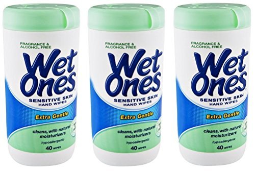 Wet Ones Sensitive Skin Hand Wipes: 40 Count Canister (Pack of 3) by Wet Ones
