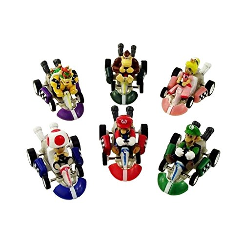 Max Fun 6pcs Mario Kart Cars Pull Backs Figure Set -