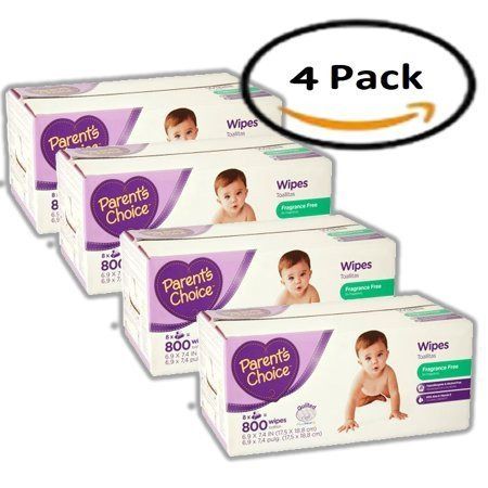 PACK OF 4 - Parent's Choice Fragrance Free Baby Wipes, 800 sheets