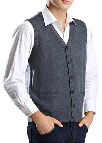 Betusline Men's Solid Slim Fit V-Neck Button Down Knit Sweater Vest