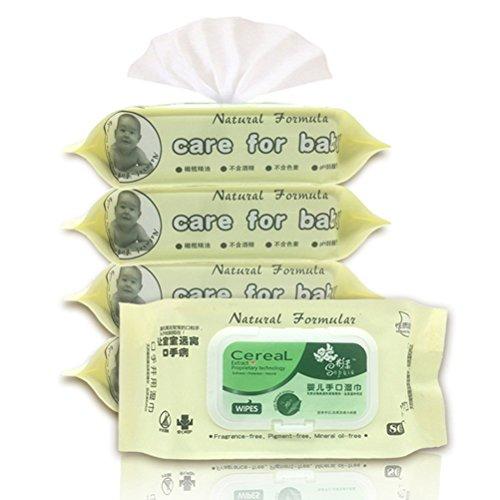Lurrose Toallitas húmedas para bebés, paquetes con tapa abatible de 80 unidades, toallitas húmedas para las manos, toallitas húmedas para la cara, ...