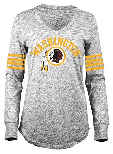A-Team Apparel NFL Washington Redskins Women's Space Dye Long Sleeve V-Neck Tee, Black, Large
