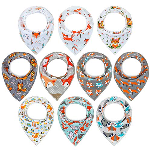 10-Pack Bandana Bibs Upsimples Baby Drool Bibs for Drooling and Teething, 100% Cotton Super Absorbent, 10 Stylish Design for Baby Toddler-