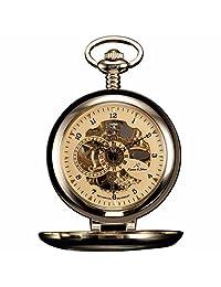 ++CANALOHA:)++ KS Skeleton Gold Dial Transparent Cover Men Accessory Mechanical Pocket Watch