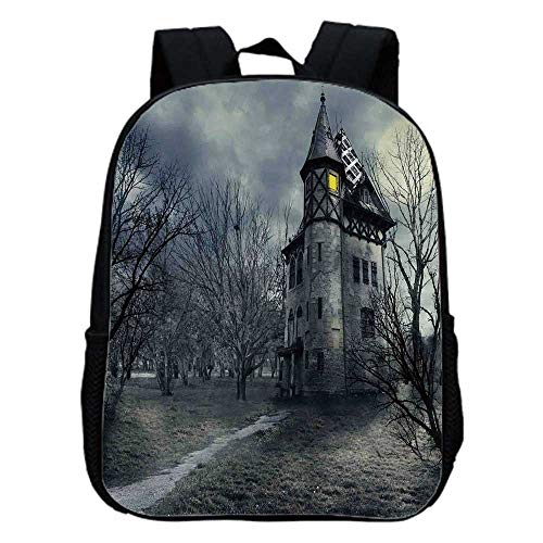 Halloween Fashion Kindergarten Shoulder Bag,Halloween Design with Gothic Haunted House Dark Sky and Leafless Trees Spooky Theme Decorative For Hiking,One_Size -