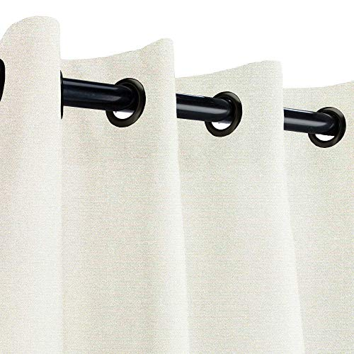 Sunbrella Canvas Natural Outdoor Curtain with Dark Gunmetal Grommets 50 in. Wide x 96 in. Long (All Weather Drapes)
