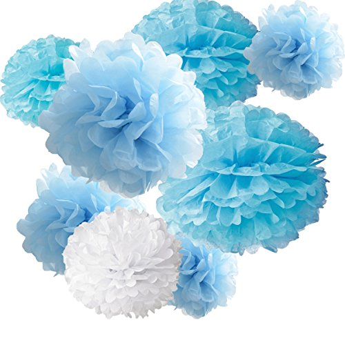 light blue pom pom decorations - 1