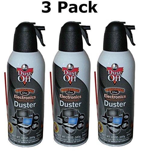 Dust-Off Disposable Compressed Gas Duster 3 X 12oz Can 100 Percent Ozone Safe Slip-On Extender