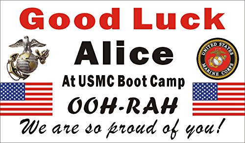 Alice Graphics 3ftX5ft Custom Personalized US Marine Corps Going Away Goodbye Farewell Deployment Party Banner Sign - Good Luck at USMC Boot - Marine Personalized