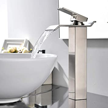 Bathroom Basin Vessel Sink Faucet Waterfall Spout Tall Countertop Brushed Nickel