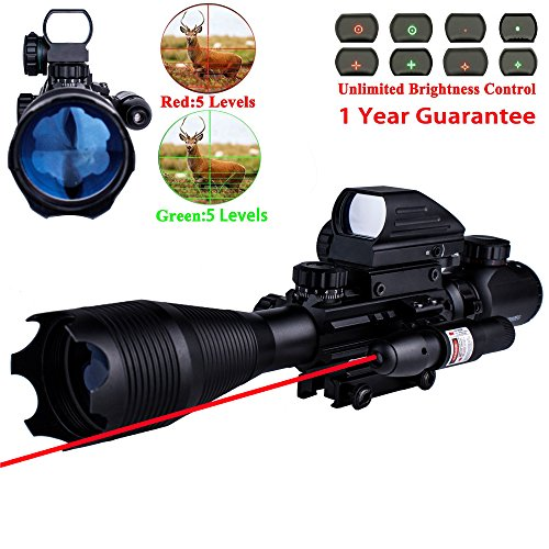 AR15 Tactical Rifle Scope 4-16x50EG Dual Illuminated with Red Laser and Electronic 4 Tactical Multi Optical Coated Holographic Red and Green Dot Sight for W/ 22mm Rail Mount (Common Red Dot)