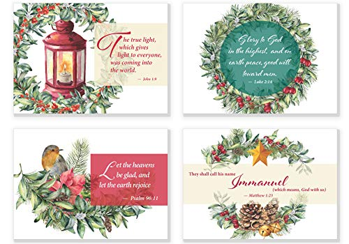 Religious Christmas Scripture Verse Note Cards | 4 Unique Water Color Designs | 24 Pack Double Sided Bible Verse Christmas Cards with Envelopes (Design Card Christmas Inspiration Graphic)