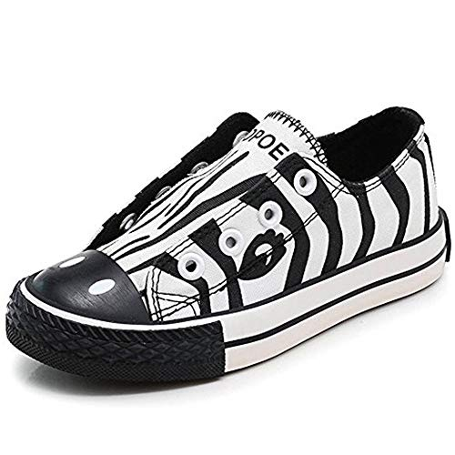 (KaMiao Toddler Animal Printing Canvas Shoes Flat Laceless Slip-on Sneakers Walking Tennis Shoes School Shoes KM911-banma-22)