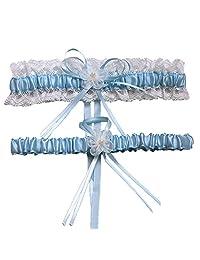 XY Fancy 5 Colors Lace Ruffle Satin Wedding Garter Set of 2 Bridal Garter Belt Toss/Keepsake Blue