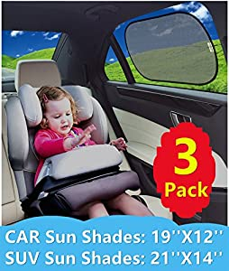 Static Cling Car Window Sunshades (3 Pack) by KALMORE Block over 98% of Harmful UV Rays with See thru View. Protect Infant, Baby, and Pet - Easy Installation and Storage with a Premium Travel Pouch