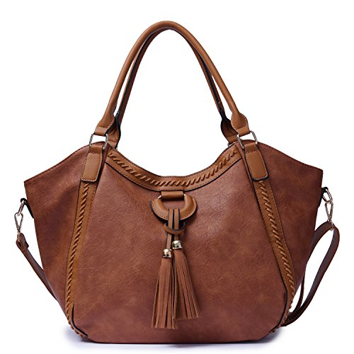 Mn&Sue Women's Hobo Handbag Leather Shoulder Tote Purse Large Top Handle Satchel Roomy Beach Bag with Tassel (Brown)