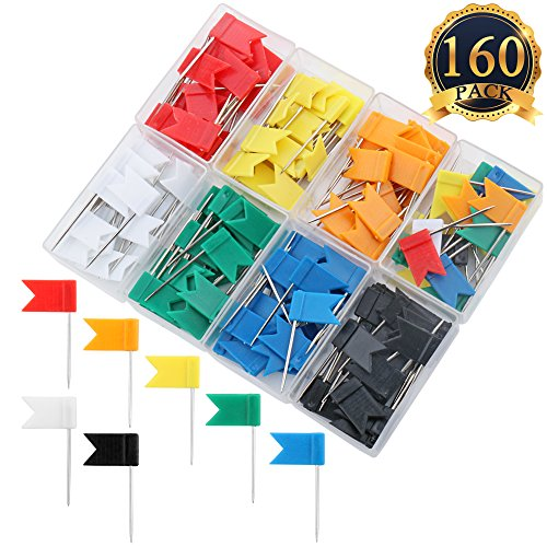 - SUBANG 160 Pieces Push Pins Map Flag Push Tacks, Assorted 7 Colors