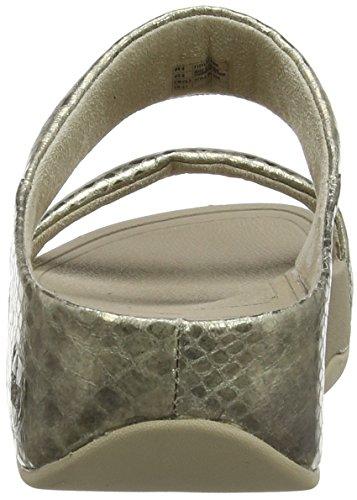 Fitflop Dames Lulu Metallic Snake Slide Sandaal Bleek Goud