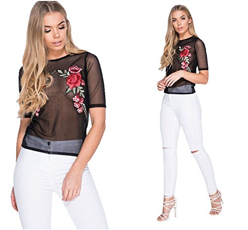 Women Sexy Mesh Sheer Rose Embroidery See Through Short Sleeve Tops Shirts Blouse-XL (Sexiest Plus Size Outfits)