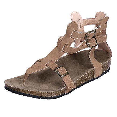 (Gladiator Flat Sandals for Women,SMALLE◕‿◕ Womens Flip Flop Roman Ankle Wrap Cutout Flat Sandal Fisherman Sandal Beige)