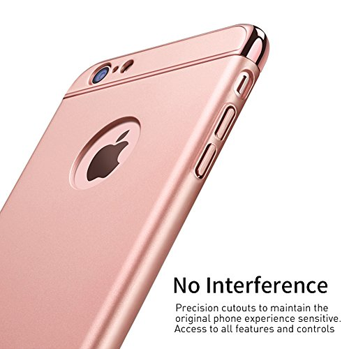 Coque iPhone 6s, Coque iPhone 6, RANVOO 3 en 1 Coque de Protections, Electro Placage Texture Protector, Excellent Toucher, Or Rose