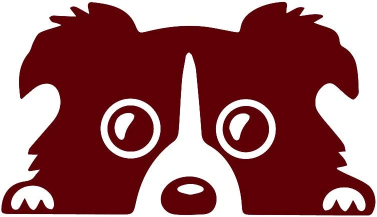 ANGDEST Border Collie Dog (Burgundy) (Set of 2) Premium Waterproof Vinyl Decal Stickers for Laptop Phone Accessory Helmet Car Window Bumper Mug Tuber Cup Door Wall Decoration