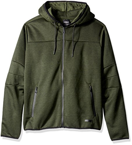 WT02 Men's Basic Tech Fleece Hoodeed Full Zip with Waterproof Zipper Details, Heather Olive, 3X-Large