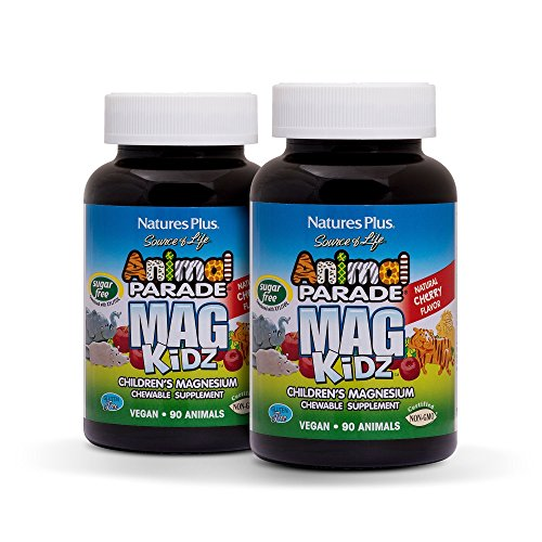 Natures Plus Animal Parade Sugar-Free MagKidz Childrens Magnesium Supplement (2 Pack) - Natural Cherry Flavor - 90 Chewable Animal Shaped Tablets - Bone & Muscle Health Support - 45 Servings