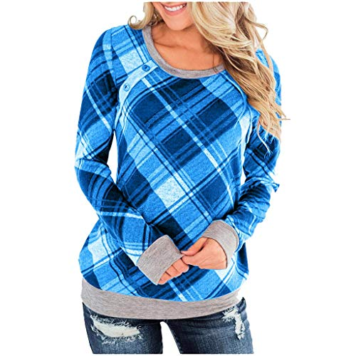 ⭐LONGDAY⭐ Womens Buffalo Plaid Shirts Round Neck Raglan Pullover Casual Long Sleeve Tops Blue