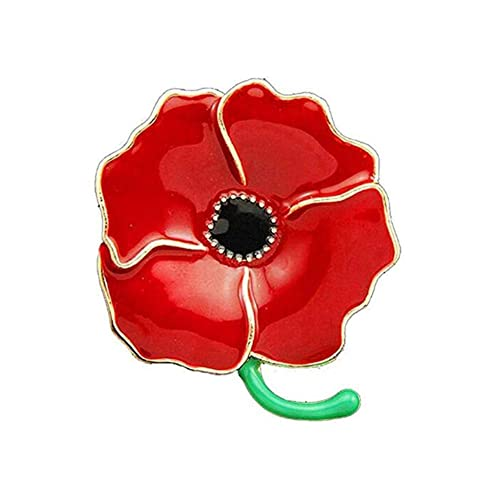 Poppy pins amazon revolity large poppy flower brooch lapel badge pin gold brooch for women red enamel flower pin mightylinksfo