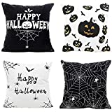 MIULEE Pack of 4 Happy Halloween Black and White Decor Throw Pillow Cover Bat Pumpkin Decorative Cushion Cover Pillow Case for Car Sofa Bed Home Couch 18 x 18 Inch 45 x 45 cm