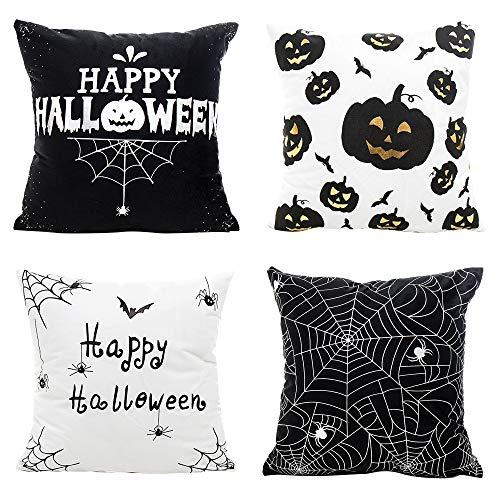 MIULEE Pack of 4 Happy Halloween Black and White Decor Throw Pillow Cover Bat Pumpkin Decorative Cushion Cover Pillow Case for Car Sofa Bed Home Couch 18 x 18 Inch -