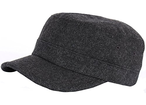 RaOn A123 Homespun Harris Donegal Tweed Pattern Fabric Army Cap Cadet Military Hat (Black)