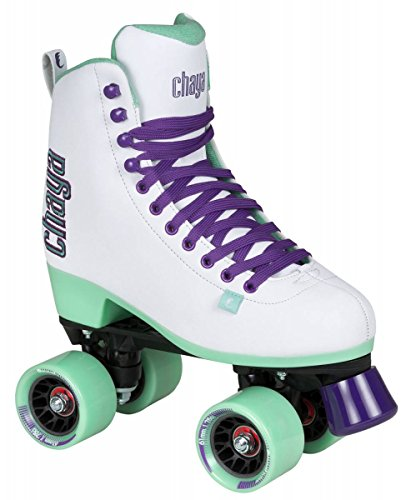 Chaya New Melrose White and Teal Quad Indoor Outdoor Roller Skates