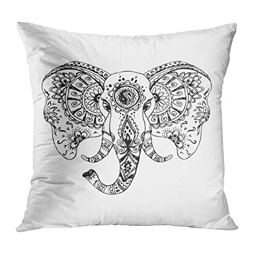 Meofo Throw Pillow Cover Abstract Elephant Indian Style Mehndi Animal and Arabic Art Decorative Polyester Soft Pillowcase for Sofa Office Cushion Bedroom Car Square 16 x 16 Inch (Simple And Easy Arabic Mehndi Designs For Hands)