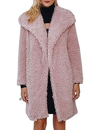 BerryGo Women's Casual Faux Fur Long Coat Lapel Shaggy Open Front Jackets Nude Pink,S