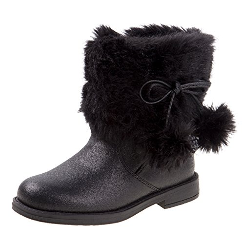 Laura Ashley Toddler Girls Pom Pom Faux Fur Winter Boot, Black, Size 9 US Toddler' (Sale Girl Boots On For Winter)