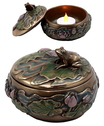 (Ebros Gift Zen Frog Sitting On Lily Pad Decorative Trinket Jewelry Box Figurine for Vanity Accessory Keepsake Gift Candle Holder)