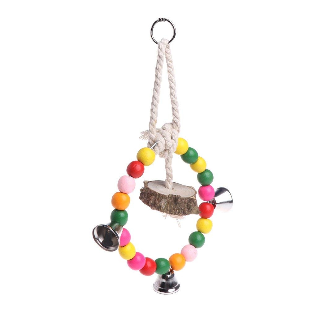 Parrot Bird Chewing Toy Natural Wood Colorful Beads Ring Swing Bite Hanging Cage Premium Quality by Yevison