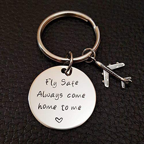 Pilot Fly Safe Key Chain, Always Come Home to Me, Handstamp Captain Be Safe Gift