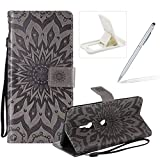 Wallet Case for Sony Xperia XZ3,Strap Flip Case for Sony Xperia XZ3,Herzzer Retro Elegant [Gray Mandala Flower Pattern] Stand Magnetic Leather Case with Soft TPU