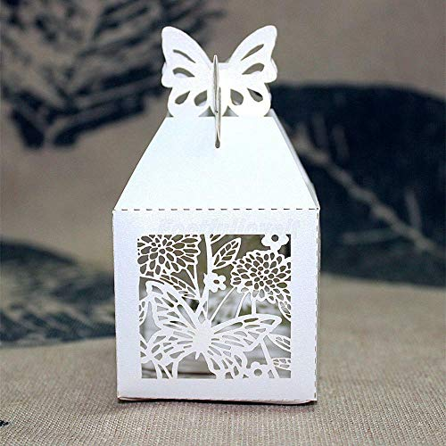 50pcs Laser Cut Butterfly Baby Shower Party Wedding Favor Candy Gifts Boxes |Color - White|]()