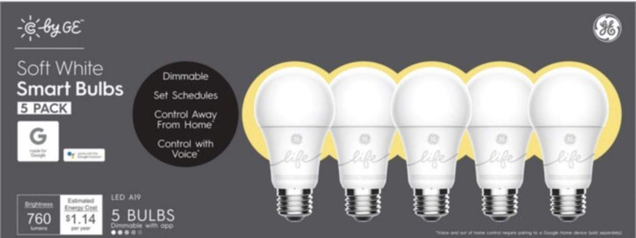 9.5W (60W Replacement) C by GE C-Life Soft White Smart Bulbs (5 LED A19 Light Bulbs)